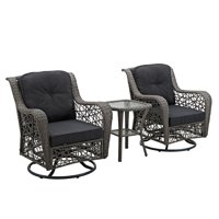 W. Trends 3-Pc. Rattan Motion Chair Set with Cushions (Gray)