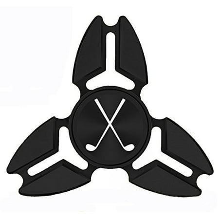 Fidget Spinner Tri-Spinner Black Aluminum Metal Crossed Golf Clubs
