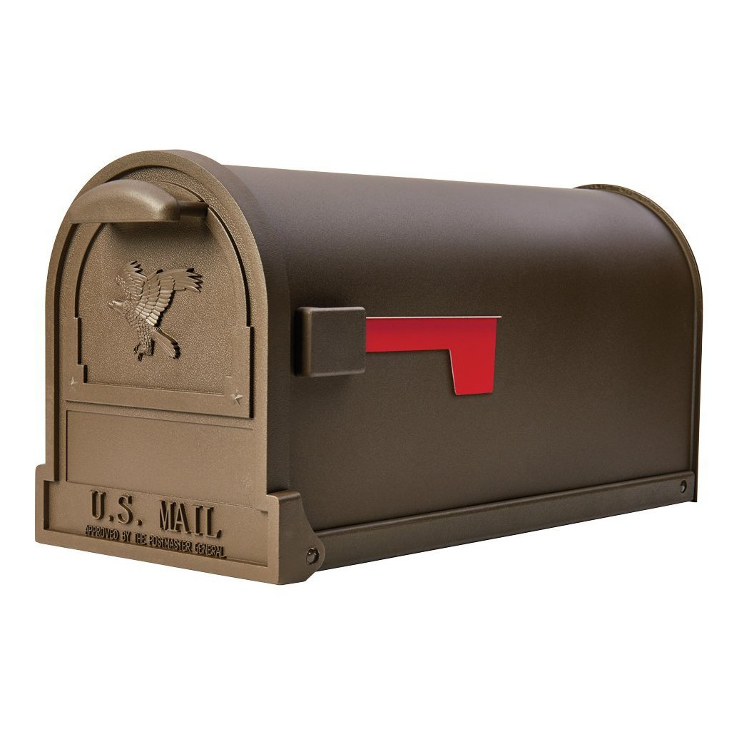 Gibraltar Mailboxes Arlington Large Capacity Galvanized Steel Bronze Post Mount Mailbox, AR15T000