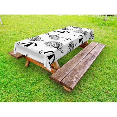Black and White Outdoor Tablecloth, Ornate Umbrella Icons with Minimalist Stripes and Floral Features Artwork, Decorative Washable Fabric Picnic Table Cloth, 58 X 84 Inches,Black White, by Ambesonne