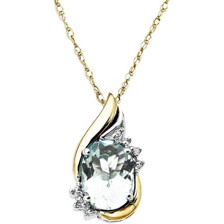 Sterling Silver with 10kt Yellow Gold Oval Aquamarine and Diamond Accent Pendant Necklace