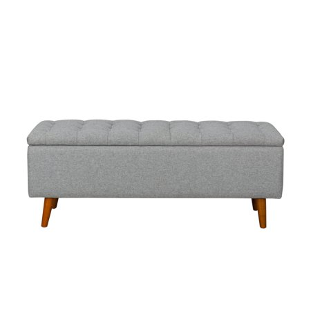HomePop Arlington Storage Bench with Button Tufting, Light Gray ()