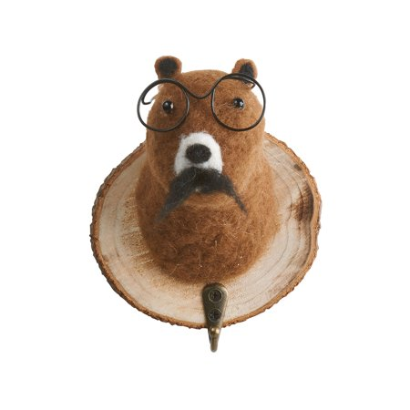 Felted Animal Head Wall Hook - Funny Bear Head in Glasses, Key Rack Hat Hook ()