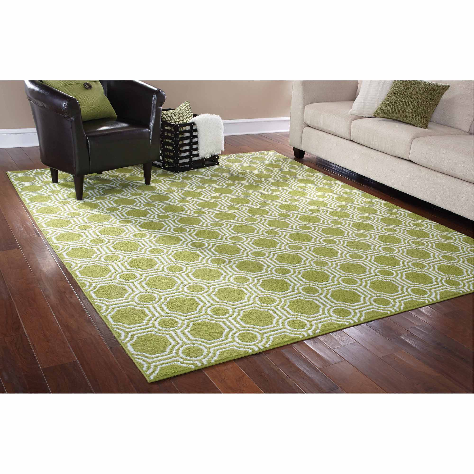 Mainstays Rug in a Bag Mosaic Area Rug, Green/White