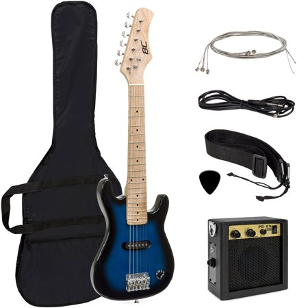 Best Choice Products 30in Kids 6-String Electric Guitar Beginner Starter Kit w/ 5W Amplifier, Strap, Case, Strings, Picks - Blue