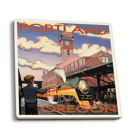 Union Lantern (Portland, Oregon - Union Train Station - Lantern Press Artwork (Set of 4 Ceramic Coasters - Cork-backed, Absorbent) )