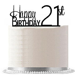 Item#AE-124 Happy 21st Birthday Agemilestone Elegant Cake Topper