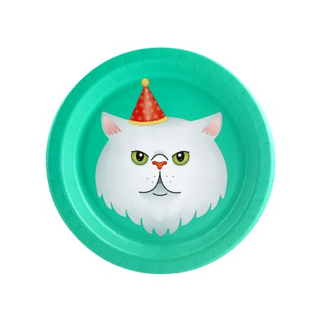 Halloween Cats Meow White Cat 7Inches Dessert Plate (8 Count) - Gory Halloween Dessert