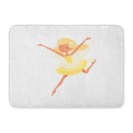 GODPOK Colorful Beautiful Blond Fairy in Action with Hands Up Girl Wearing Bright Yellow Dress Mythical Creature Rug Doormat Bath Mat 23.6x15.7 inch