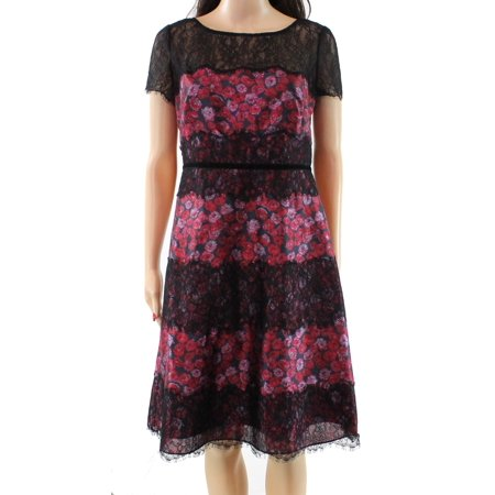 Kay Unger NEW Red Women's Size 4 Floral Print Lace Trim Sheath Dress
