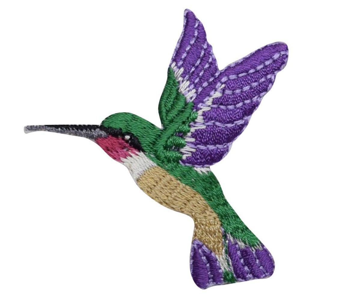 Left//Right Hummingbird w//Purple Flower Embroidery Iron On Applique Patch