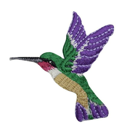 Large Dark Purple Hummingbird Facing Left Iron on Embroidered Applique Patch (T Birds Patch Grease)