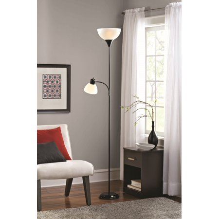 Mainstays Floor Lamp and Reading Light, Black