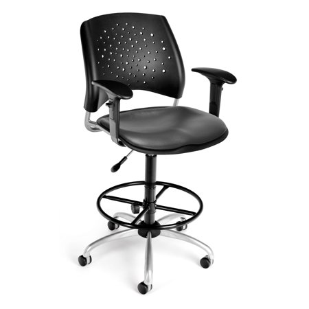 OFM Stars Series Model 326-V-AA3DK Anti-Microbial/Anti-Bacterial Vinyl Swivel Task Chair with Arms and Drafting Kit, Charcoal ()
