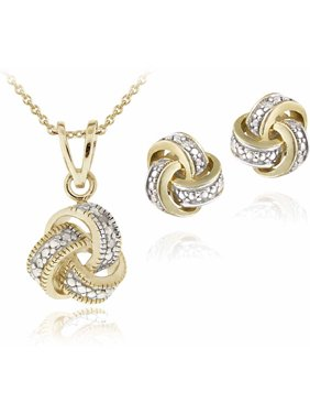 Diamond Accent Gold-Tone Love Knot Necklace and Earrings Set