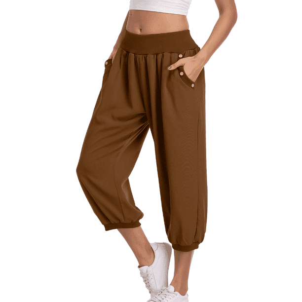 Dilgul Dilgul Women S Harem Pants Loose Fit Capri Pants Jogger Workout Yoga Pants With Pockets Chocolate M Walmart Com Walmart Com