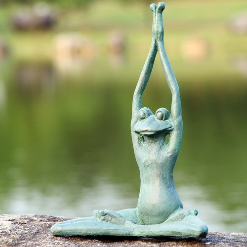 San Pacific International Stretching Yoga Frog Garden Sculpture