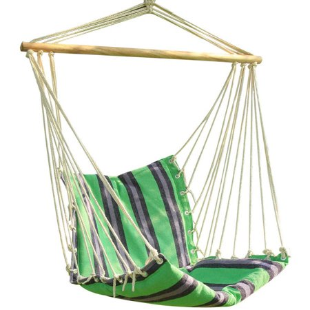 Adeco green striped outdoor hammock chair - Choosing a hammock chair for your backyard ...
