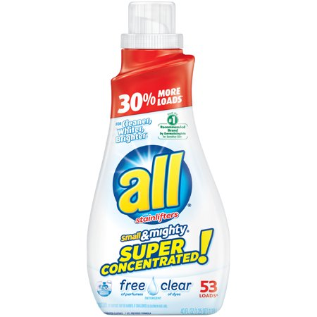 all Small & Mighty Super Concentrated Liquid Laundry Detergent, Free Clear for Sensitive Skin, 40 Fluid Ounces, 53 Loads