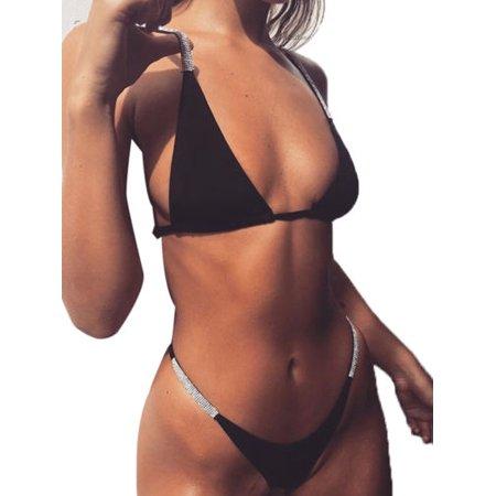 Sexy Women Sequin Bikini Set Push Up Padded Beachwear Bathing Swimwear - Sequin Swimsuit