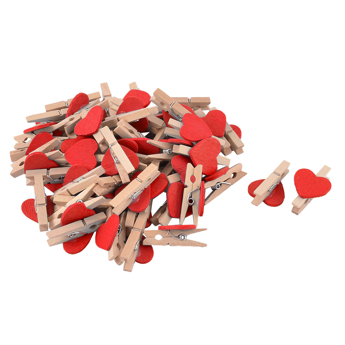 Card Photo Heart Shape Crafts Clothespin Pegs Wooden Clip Chocolate Color 50pcs
