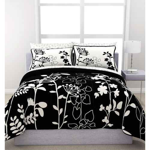 Formula Botanica Reversible Bed in a Bag , Black and White Floral Print