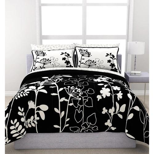 Formula Botanica Reversible Bed in a Bag , Black and White Floral Print