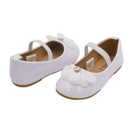 Sara Z Toddler Ballet Flat Patent Slip On Adorned With Chiffon Flower With Rhinestone, White Size 5-6
