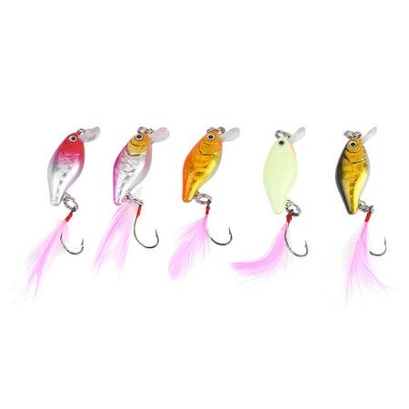 Spptty 5pcs mini leurre artificielle appâts de plumes artificielles ensemble de matériel de pêche s'attaquer avec crochet simple, appâts de plumes, faux appâts - image 8 de 8
