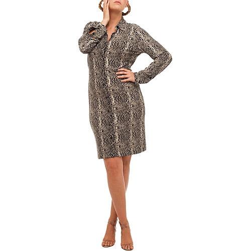 Norma Kamali - Women's Plus Long-Sleeve Jersey Shirtdress
