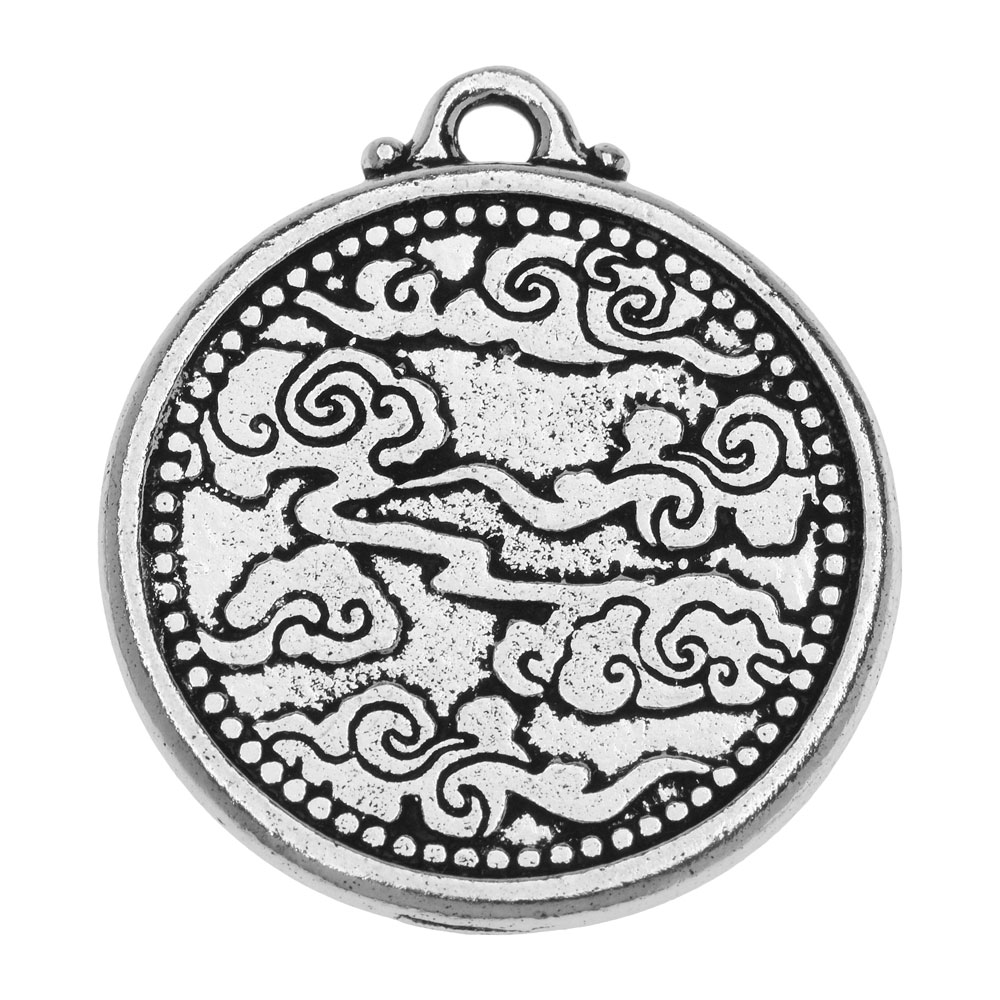 Antique Gold Plated Pewter 683 TierraCast Dragon Pendant 1 pc 28mm 2 Sided