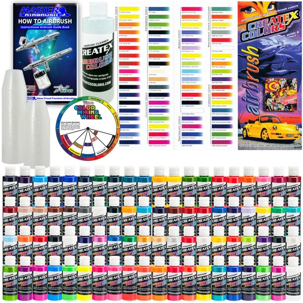 Createx Deluxe All 80 Colors Set 2oz Airbrush Hobby Opaque Transparent Paint Walmart Com Walmart Com