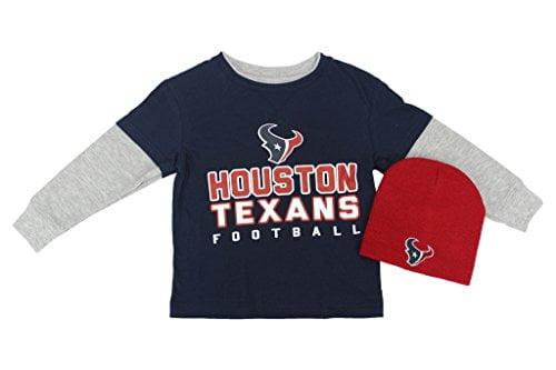 Outerstuff NFL Boy's Houston Texans 2 Piece Set Knit Hat LS Blue T Shirt by
