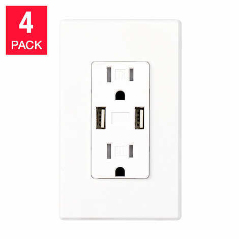 Feit Electric 4 Pack Wall Receptacle With Usb Ports