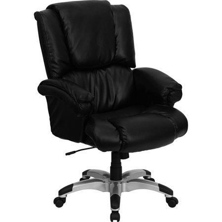 Flash Furniture Over Stuffed Leather Executive Office Chair With Arms Black