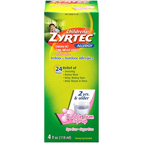 Children's Zyrtec Sugarfree Dyefree Bubblegum Allergy Syrup 4oz Each