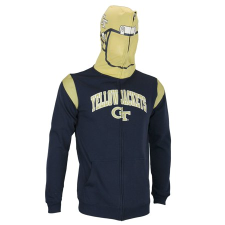 NCAA Youth Georgia Tech Yellow Jackets Full Zip Helmet Masked Hoodie, Navy 1990 Georgia Tech Yellow Jackets