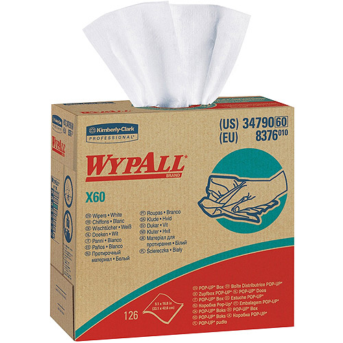 Kimberly Clark WypAll X60 Wipers, White, 126 sheets