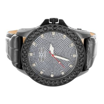 Black Finish Leather Watch Mens Water Resistance Khronos Joe Rodeo Real Diamond