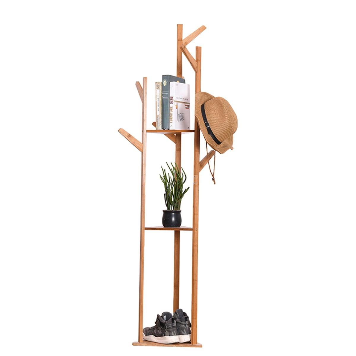 White Suits 8 Hooks Vintage Wooden Tree Coat Rack Stand Free Standing Coat Rack Hallway//Entryway Coat Hanger Stand for Clothes Floor Coat Rack