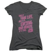 Fight Club - Life Ending - Juniors Cap Sleeve V-Neck Shirt - XX-Large