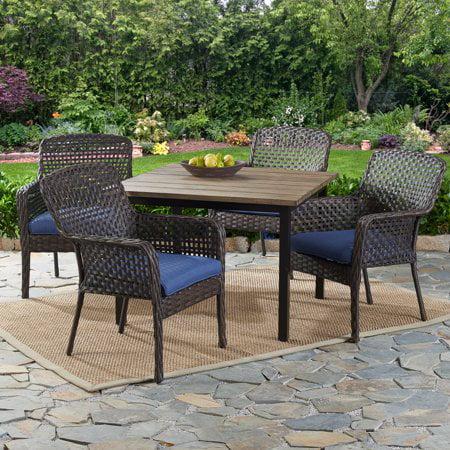Better Homes Amp Gardens Ravenbrooke 5 Piece Patio Dining Set With Blue Cushions Walmart Com Walmart Com