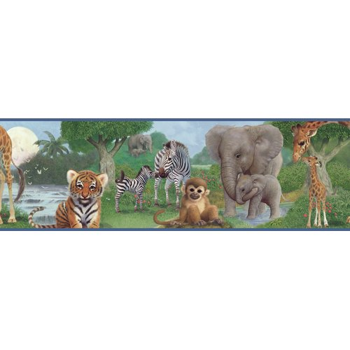 Brewster Home Fashions Borders by Chesapeake Afrique Jungle Bedtime Portrait 15' x 8'' Wildlife 3D Embossed Border Wallpaper