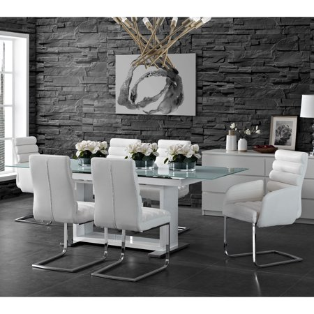- Picket House Furnishings Soho 7PC Dining Set in White-Table, Four Side Chairs & Two Arm Chairs