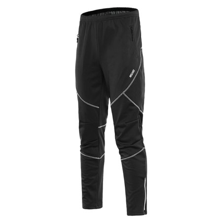 Men's Waterproof Cycling Pants Thermal Fleece Windproof Winter Bike Riding Running Sports Pants Trousers ()