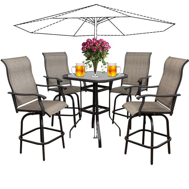 5pcs Patio Swivel Bar Set All Weather, Patio Furniture Bar Height Chairs