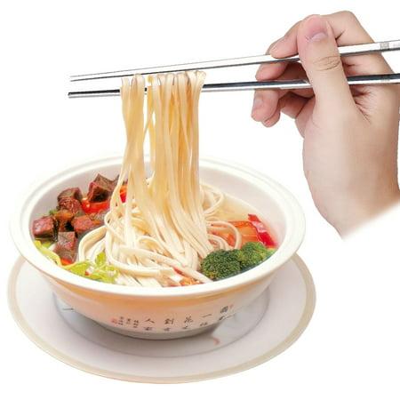 WALFRONT Solid Flat Stainless Steel Korean Chopsticks Set Tableware Dinnerware Gift Chopsticks Set,Solid Chopsticks - image 3 of 10