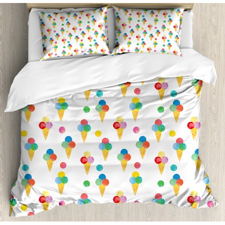 Ice Cream King Size Duvet Cover Set, Yummy Refreshments of Summertime Triple Scoops on Waffle Cones with Grungy Look, Decorative 3 Piece Bedding Set with 2 Pillow Shams, Multicolor, by Ambesonne