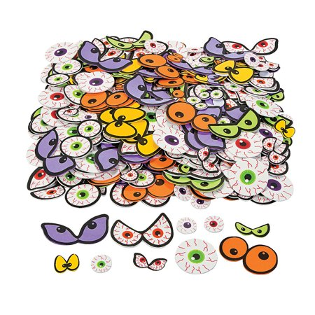 Fun Express - Adhesive Foam Spooky Eyeballs for Halloween - Craft Supplies - Foam Shapes - Regular - Halloween - 500 Pieces