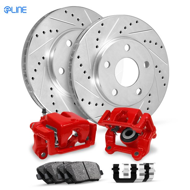 For 1999-2001 Acura RL Rear Red Calipers+Drill Slot Brake